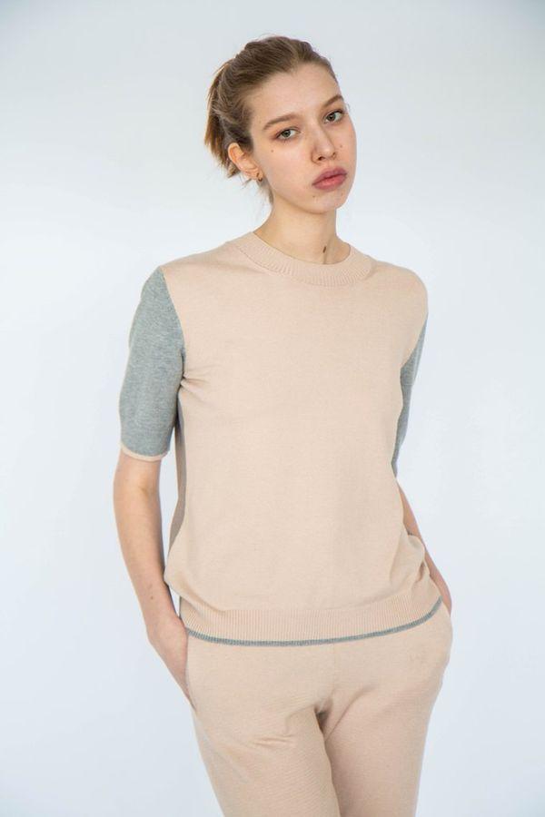 Cardigan women's short sleeve tri-color, TRICARDO