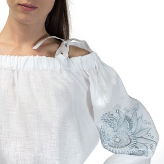 "Women's blouse ""Dion"" white with silk embroidery on the sleeves"