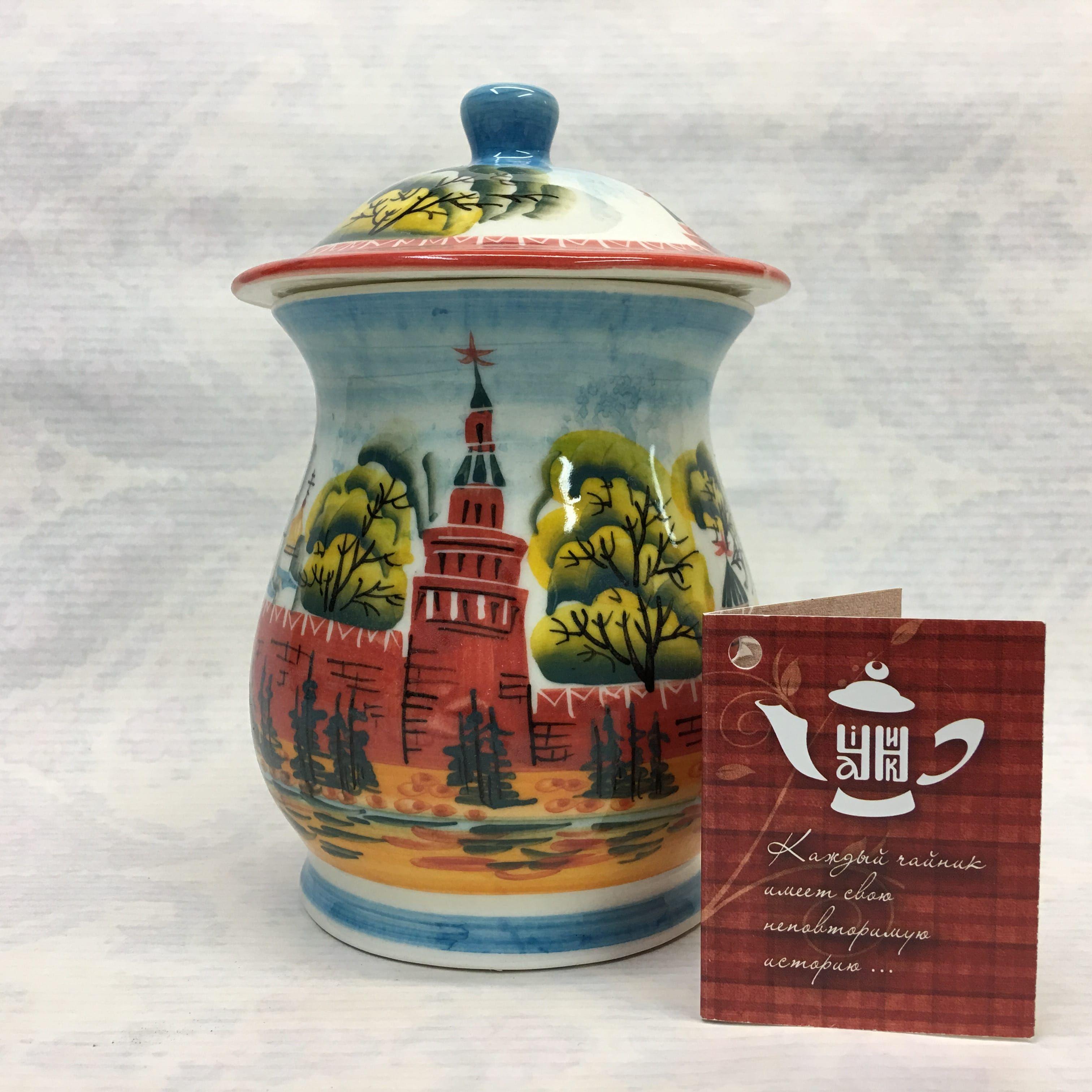"Cheerful porcelain / Porcelain sugar bowl ""Kremlin Moscow"", author Ogorodnikova O."