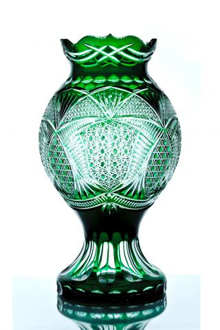 "Crystal decorative vase ""Stone flower"" green"