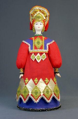 Doll gift porcelain. Ryazan province. Russian folk costume.