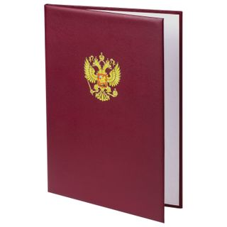 Folder address headphones with the emblem of Russia, 3D printing, A4, Burgundy, individual packing
