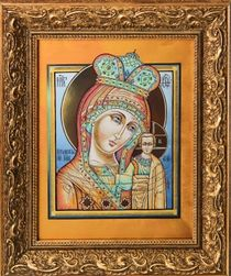 Icon of the Mother of God 'Kazan' from zirconium