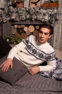 Cardigan for men with snowflake ornament, color: white, blue, TRICARDO, 100-182