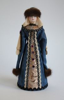 Doll gift porcelain. Boyar in winter clothes. Russia 15-16 centuries.