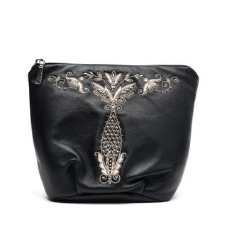"""Leather cosmetic bag """"Vase"""" in black with silver embroidery"""