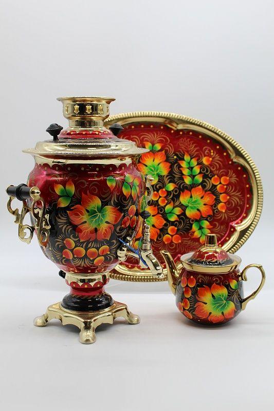 "Dulevo porcelain / Electric samovar 3 l. ""Autumn"" in the set"