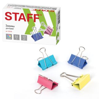 The holders STAFF Profit, SET 12 pieces, 51 mm, 230 sheets, colored cardboard box