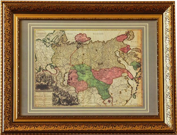 """Arbet Mramor / """"New map of the entire empire of Great Russia"""", Amsterdam, 1730 in a baguette - a replica"""