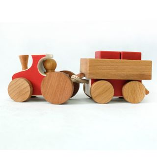"""Bug / Wooden toy """"Train with a freight car"""""""