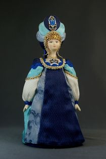 Doll gift porcelain. Women's costume on our grounds. Russia.