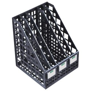 Tray vertical paper of STAMM (250х240х295 mm), 5 sections, mesh, collapsible, black