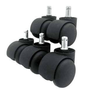 Wheels (rollers) for the chair, set 5 pieces, plastic, stock d - 11 mm, color black