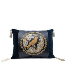 Pillow decorative sofa 'Bird in flowers' blue with gold embroidery