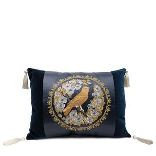 "Pillow decorative sofa ""Bird in flowers"" blue with gold embroidery"