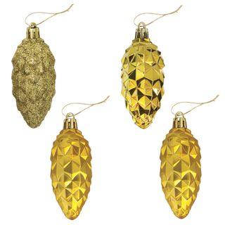 """GOLDEN FAIRY TALE / Christmas tree decorations """"Cones"""", SET of 4 pcs., Plastic, 9 cm, golden color"""