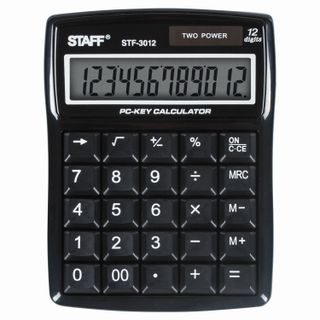 Desktop calculator STAFF STF-3012, COMPACT (141x107 mm), 12 digits, dual power supply, COMPUTER KEYS