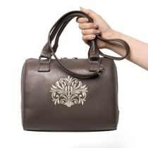 Bag in eco-leather's 'Dreams' beige color with silver embroidery