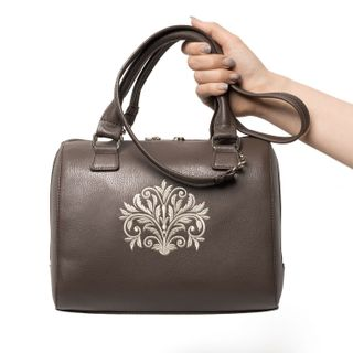 "Bag in eco-leather's ""Dreams"" beige color with silver embroidery"