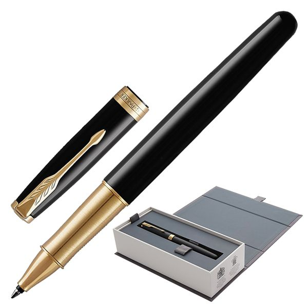 Rollerball pen PARKER 'Sonnet Black Lacquer GT Core' case, black glossy lacquer, gold plated parts, black