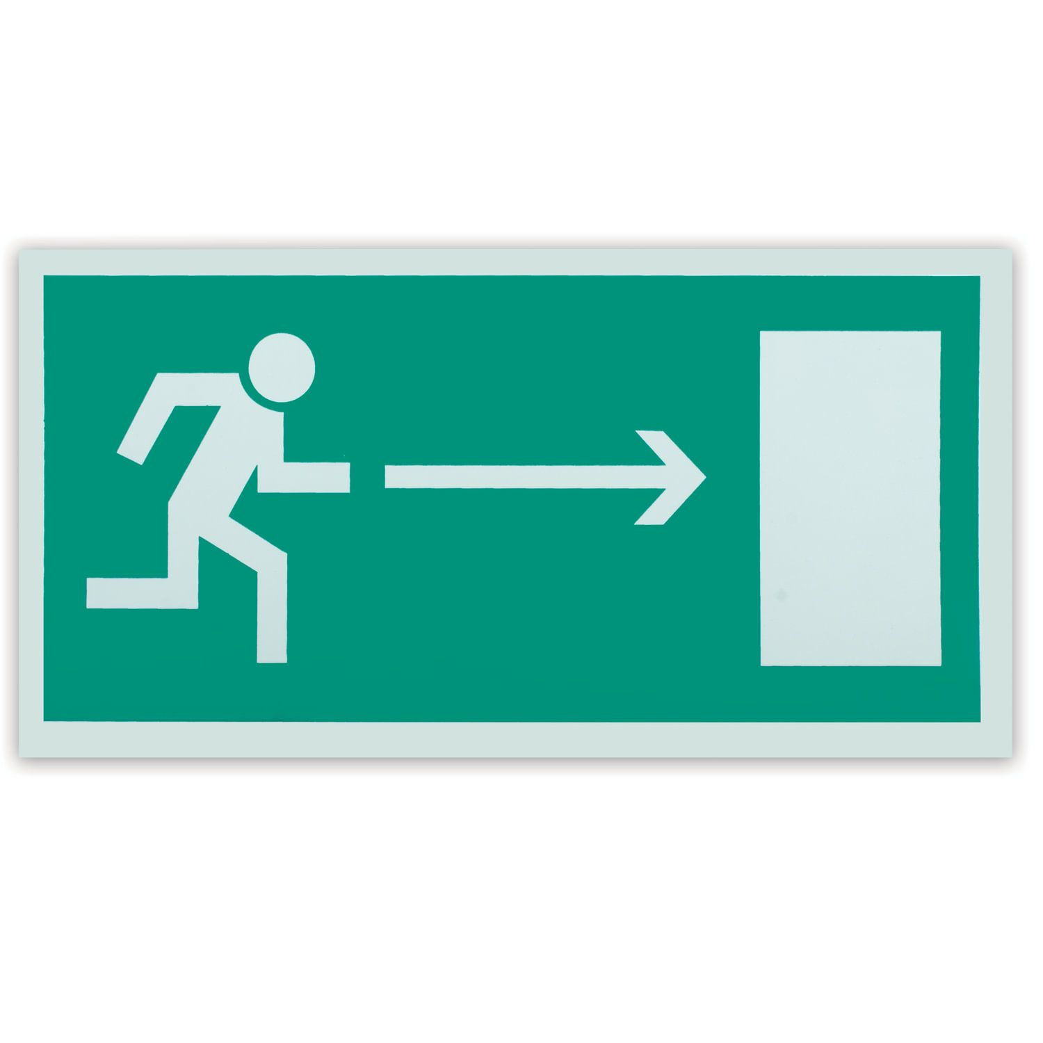 """Evacuation sign """"Direction to the emergency exit to the right"""", 300x150 mm, self-adhesive, photoluminescent"""