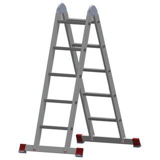 Aluminum transformer ladder 2x5 steps, height 2.9 m (2 sections, 1.45 m each), load 150 kg