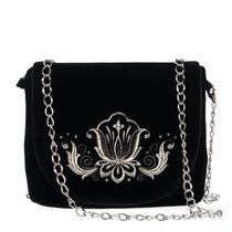 Velvet clutch 'Lily' in black with silver embroidery