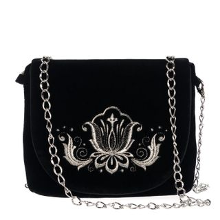 """Velvet clutch """"Lily"""" in black with silver embroidery"""