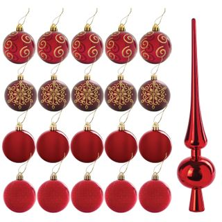 A set of decorations for spruce GOLDEN TALE, 21 pieces, plastic