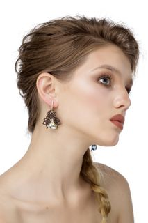 Alyonushka lace earrings, brown, Madame Cruje