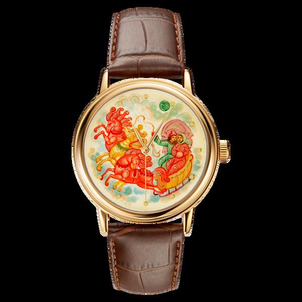 """Palekh watch """"Troika №28"""" quartz, hand-painted, artist Smirnov, braun band"""