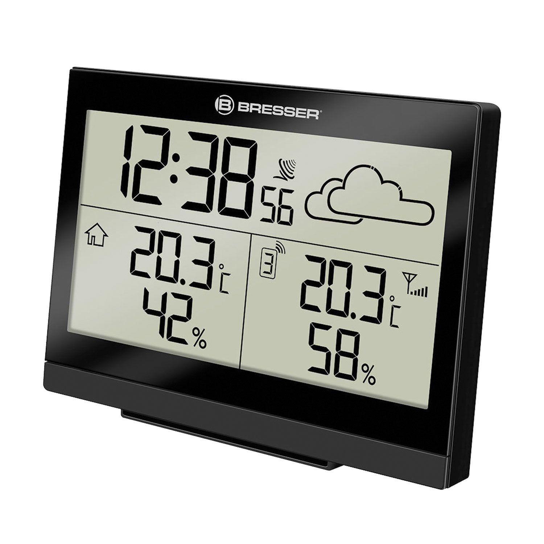 Meteorological station BRESSER TemeoTrend LG, temperature sensor, hygrometer, clock, alarm clock, black