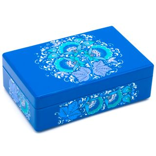 "The box ""Winter Hohloma"" is wooden blue 200х130"