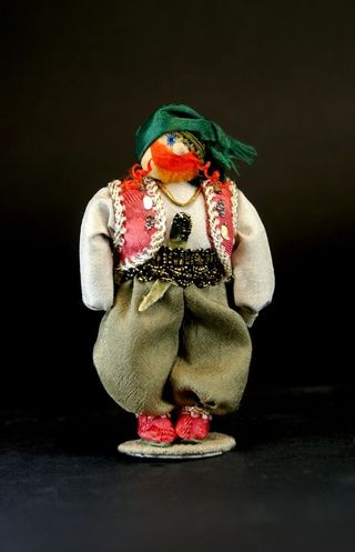 Doll-poteshka gift. Barmalei. Fairy tale character. Wood, textiles.