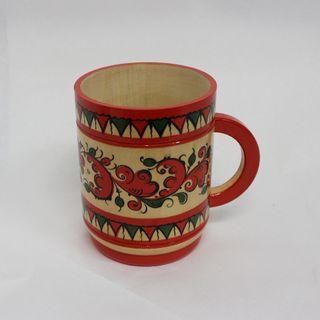 "Wooden mug ""Boretskaya painting"" height 11.5 cm"