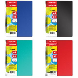 Notebook A5, 80 sheets, BRAUBERG, comb, cage, plastic cover,