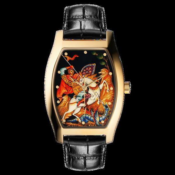 "Palekh watch ""St. George №221"" quartz, hand-painted, artist Gavrilov, black band"