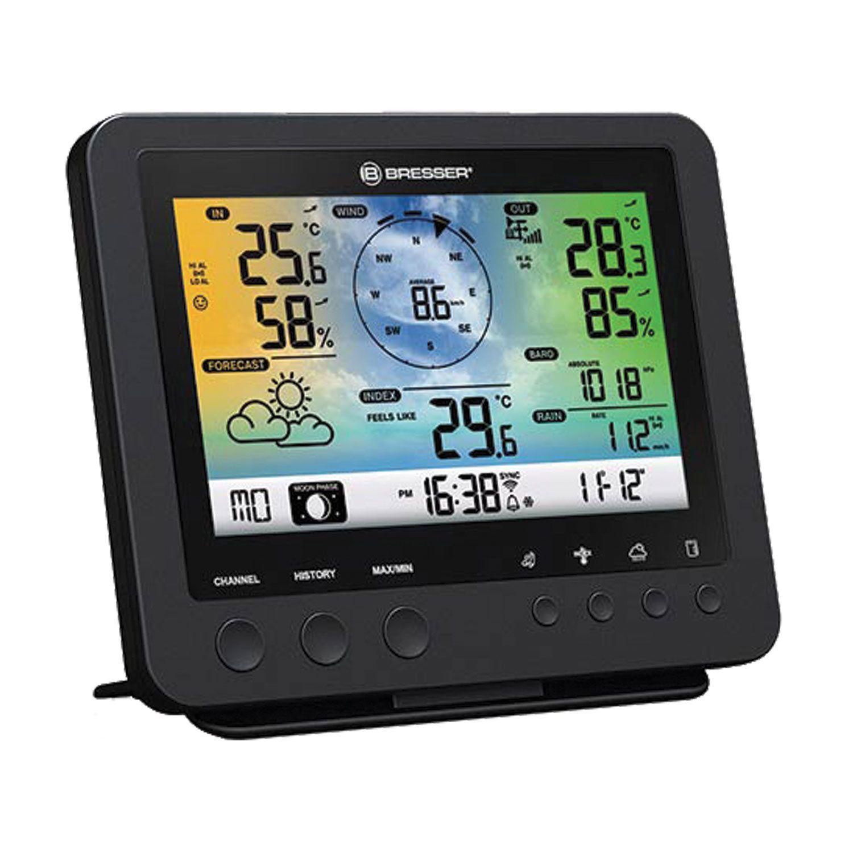 BRESSER weather station 5in1 wifi, temperature sensor, hygrometer, barometer, anemometer, rain gauge, alarm clock, black