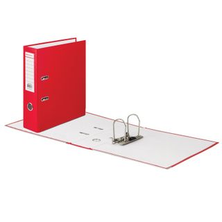 Folder-Registrar BRAUBERG with a coating of PVC, 80 mm, with corner, red (double life)