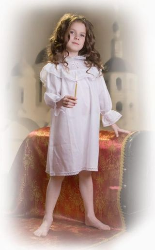 Children's baptismal chemise with lace cross