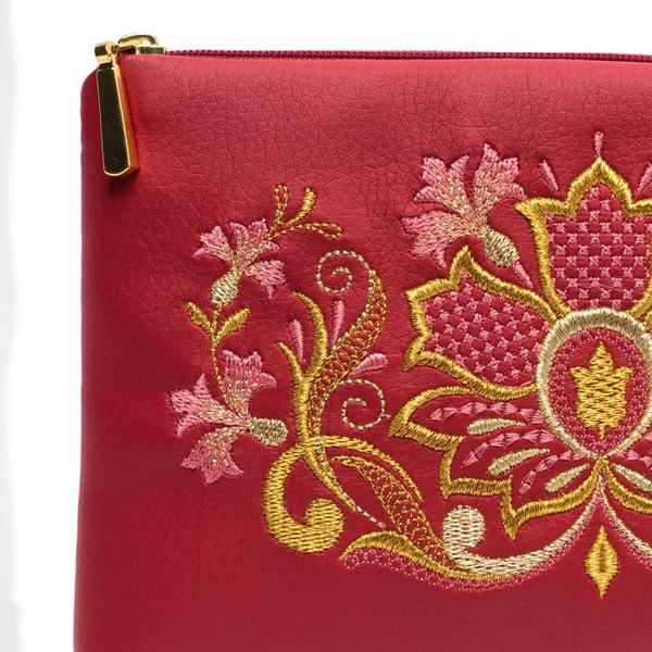 Zipper 'Cornflower' red color with Golden embroidery