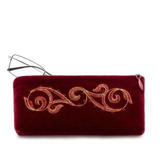 "Velvet eyeglass case ""Ornament"" Burgundy with gold embroidery"