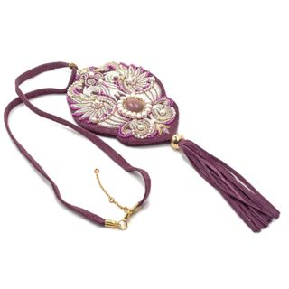 """Pendant """"wing Flapping"""" purple color with silver embroidery"""