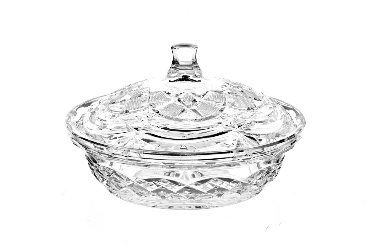 """Crystal vase for cheese """"Charodeyka"""" with lid"""