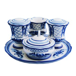 Set for spices cornflower, Gzhel Porcelain factory