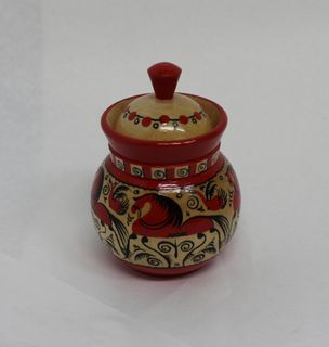 "Salt shaker wooden ""Mezenskaya Rospis"" height 10 cm"
