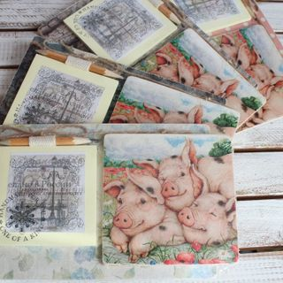 Fridge Magnet with Pig Notebook