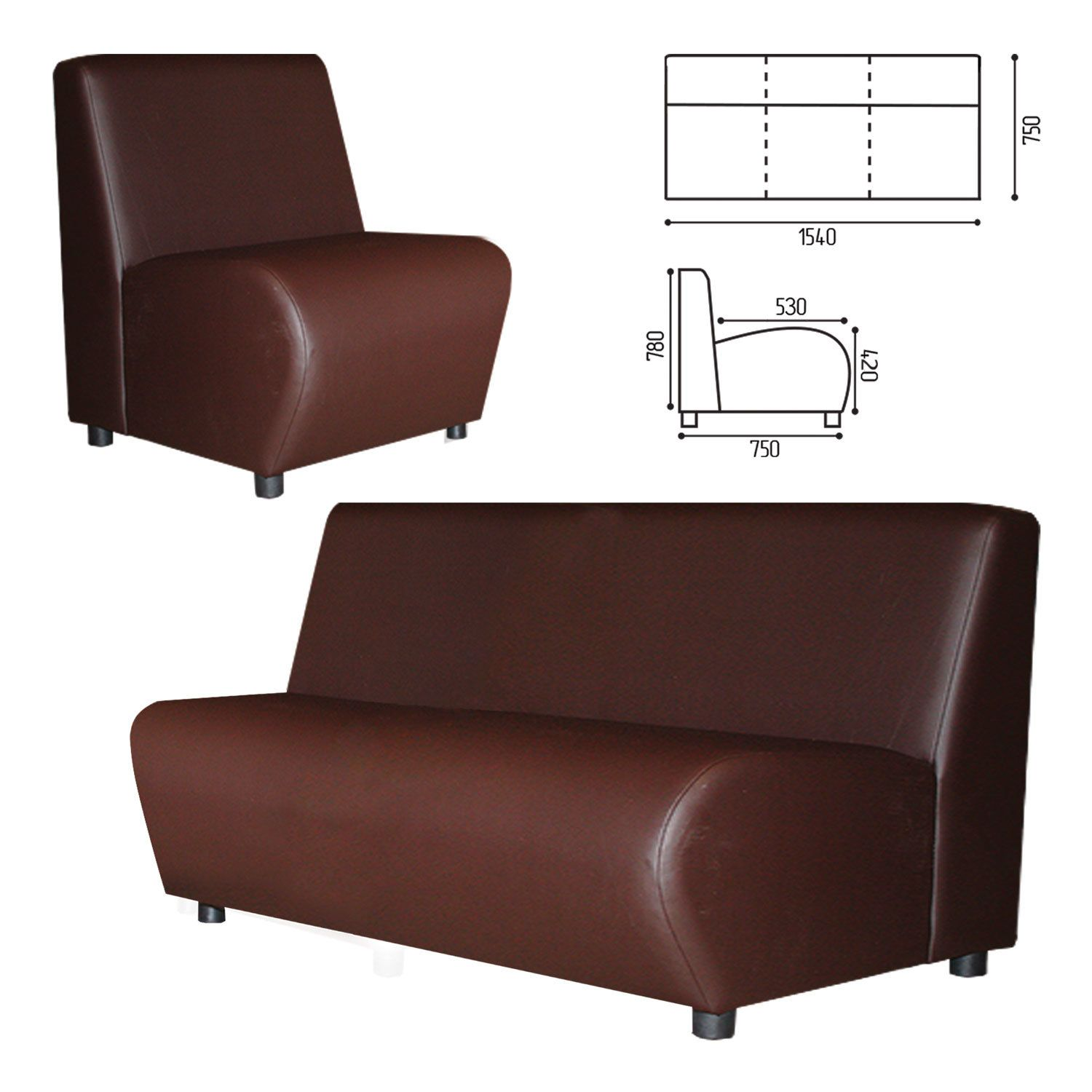 """GARTLEX / Sofa soft three-seater """"Cloud"""", """"V-600"""", 1540x750x780 mm, without armrests, eco-leather, brown"""