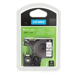 DYMO D1 label printer cartridge, 19 mm x 5.5 m, polyester tape, black font, white background