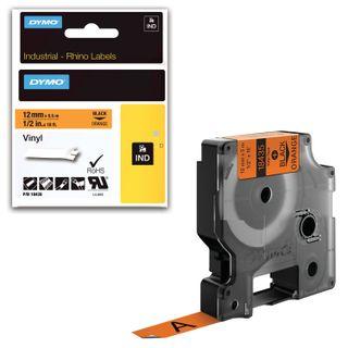 DYMO Rhino label printer cartridge, 12 mm x 5.5 m, vinyl tape, black font, orange